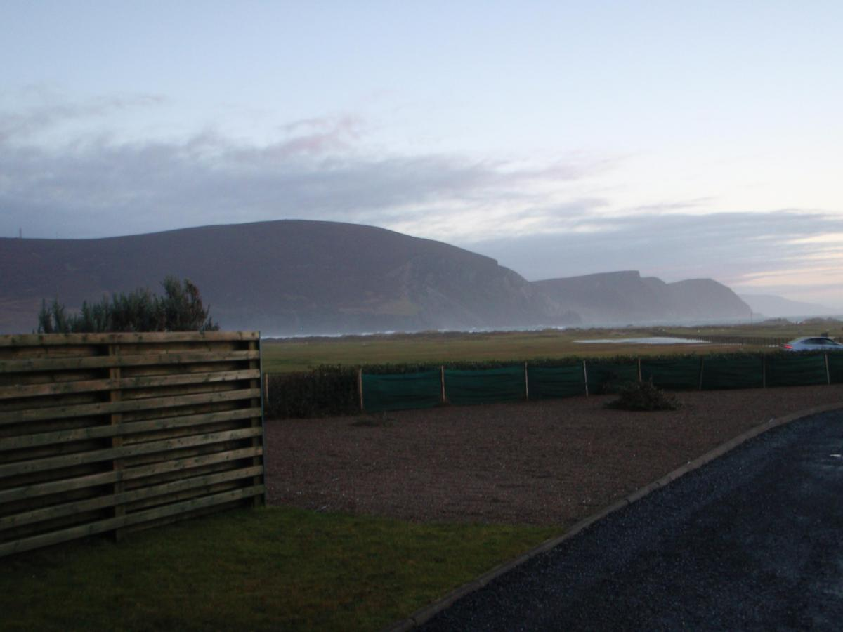 xAchill Island Keel Bay looking at Minaun Mountain and cliffs from cottage