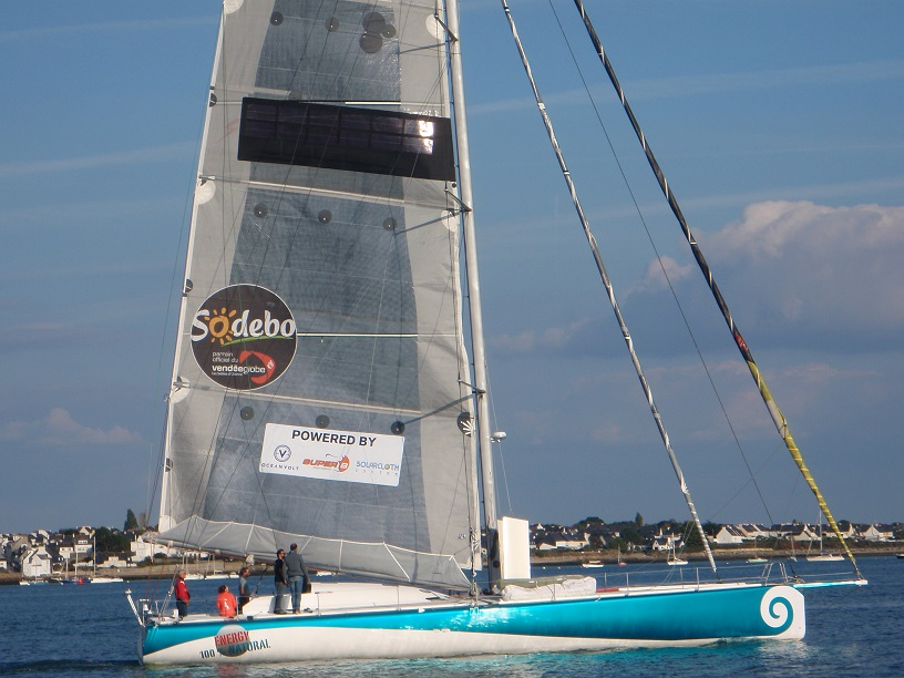 Lorient Sodebo with solar panels on mainsail