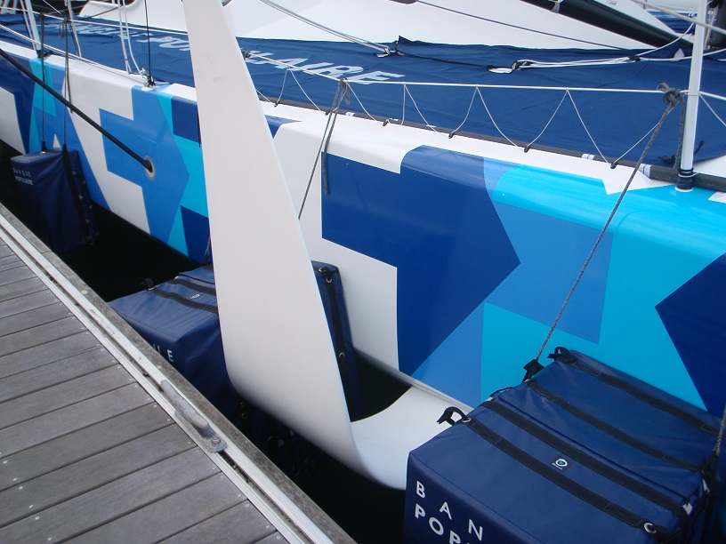Lorient Base Tabarly  Horizontal foils on Banque Populaire ready for Vendée Globe