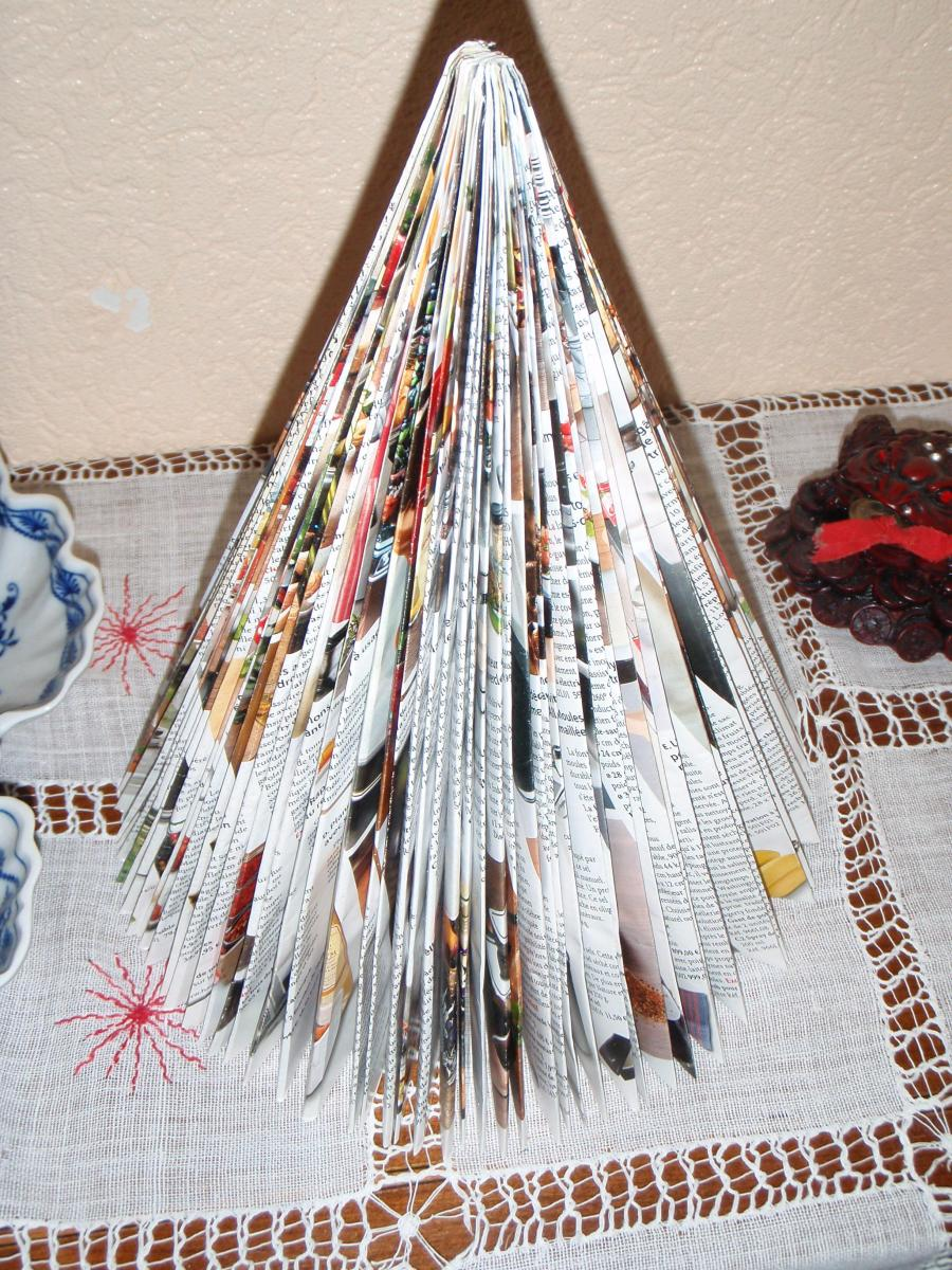 Christmas decoration made from folded magazine
